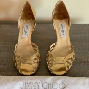 Jimmy Choo metallic gold heels.